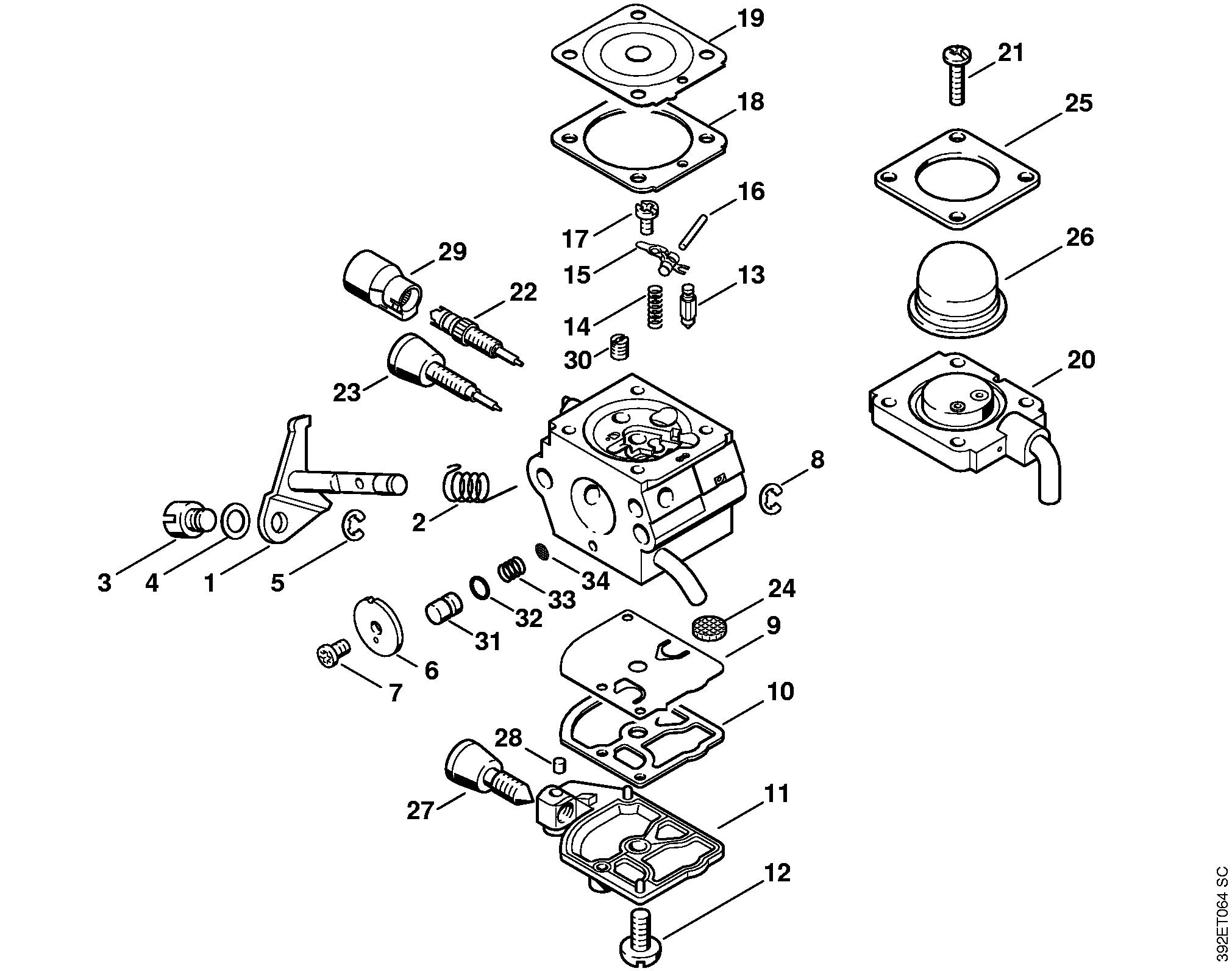 Схема сборки карбюратора бензокосы